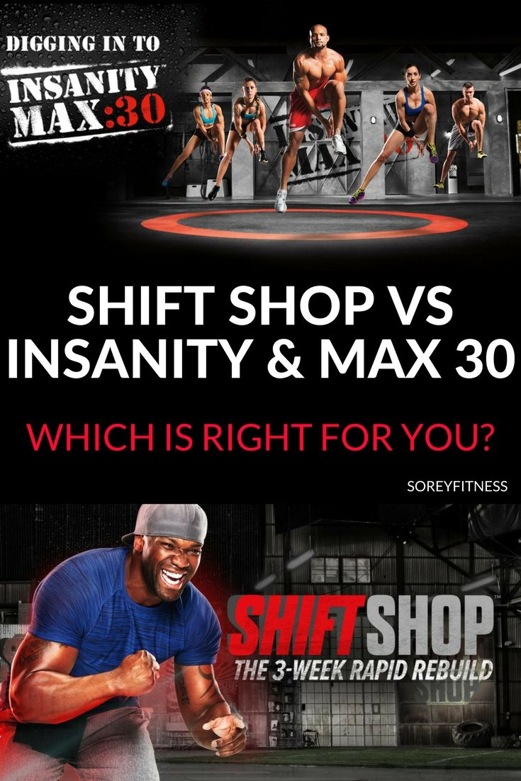 Comparison of Beachbody's Shift Shop, Insanity, and Insanity Max 30 - workouts and meal plans outlined. All 3 home workouts help you lose weight, tone up and improve your level of fitness. #athomeworkouts #beachbody #shiftshop #insanitymax30 #shaunT