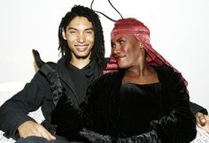 Grace Jones with her son, Paulo Goude, after performing at Mission Beach in Far