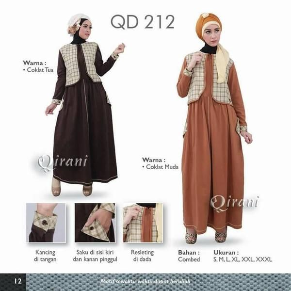 Qirani Model QD-212  Model :  QD-212  Harga : Rp 270.000,-  Size :  (S, M, L, XL, XXL, XXXL) (XXL, XXXL + Rp. 15.000,-)  Coklat Tua, Coklat Muda Bahan Combed
