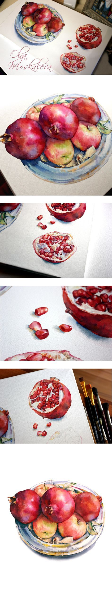 Watercolor illustration of pomegranates and apples