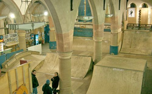 Hmmm, skate-way to heaven?  Indoor skatepark renovated from an abandoned church in Surrey, England.