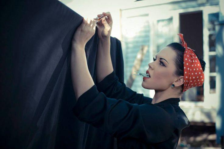 Hannah hanging the washing. Jocelen Janon Photography.