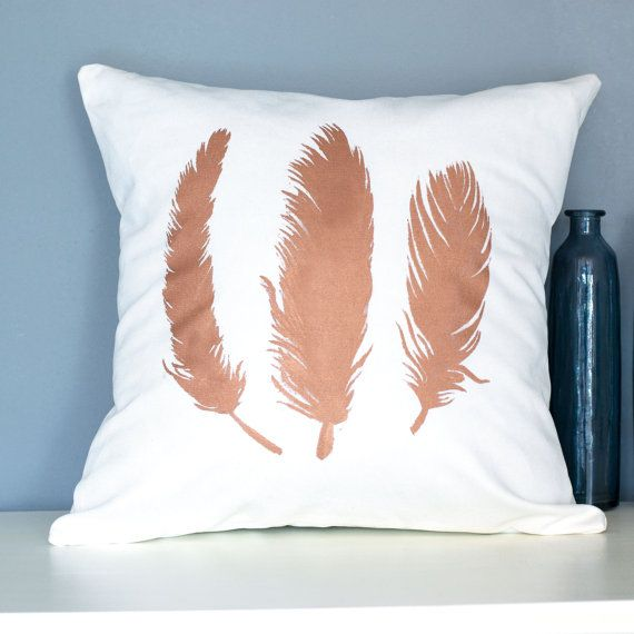 Handmade pillow with hand painted copper feather pattern. This design is made from a heigh weight 40% cotton 60% linen fabric, and is designed