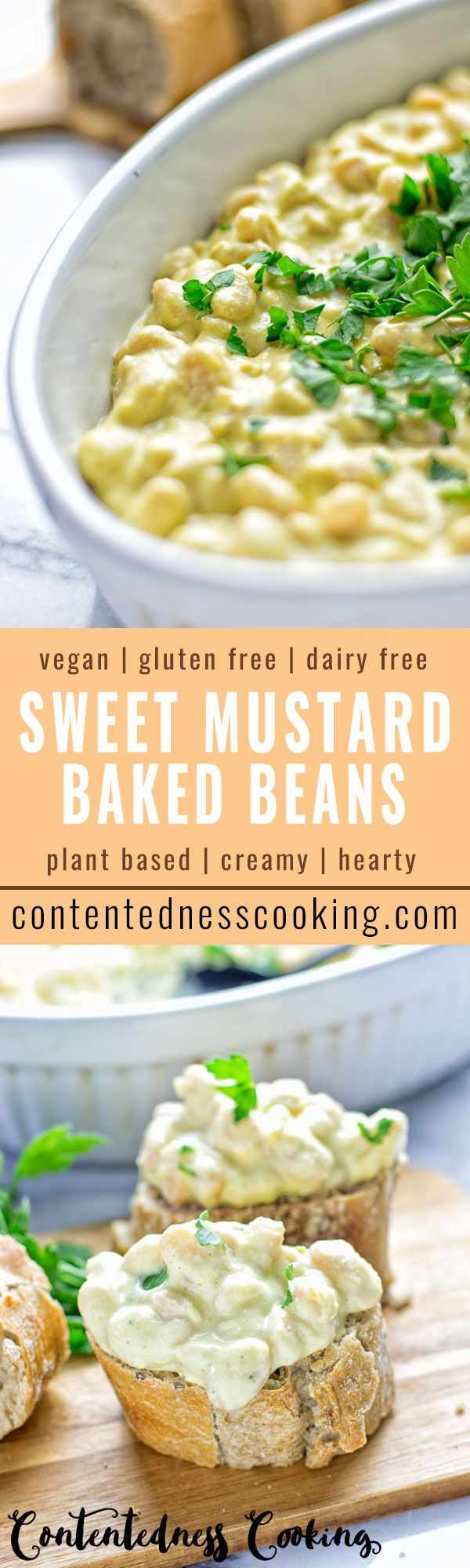 Easy to make at home: Sweet Mustard Baked Beans. Amazingly satisfying, they are full of incredible flavors, super tasty, entirely vegan and gluten free.
