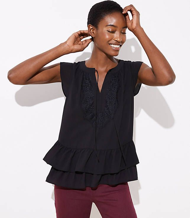 75d0723a553d7f LOFT Lacy Tie Neck Flounce Shell | RBI What to Wear | Ruffle blouse ...