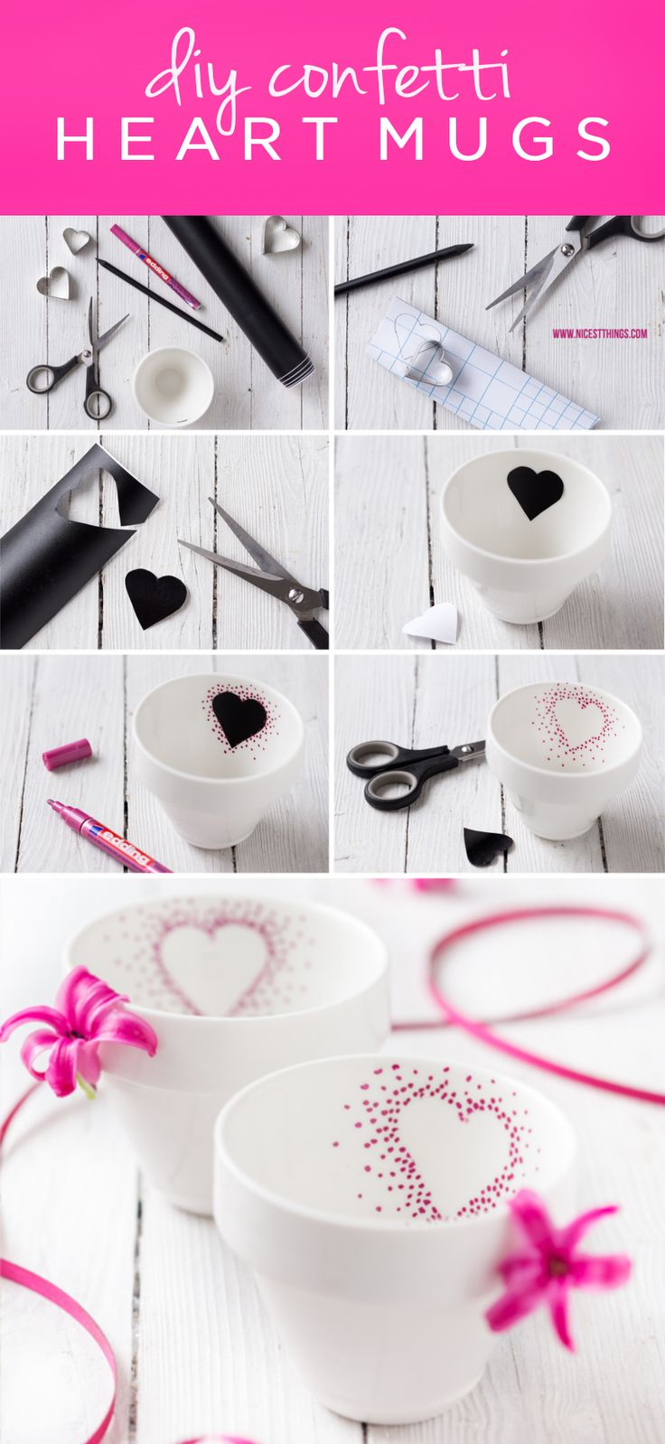 Tap into your creative side with this easy Valentine's Day craft idea! These DIY Confetti Heart Mugs are a sweet homemade gift idea that you can customize for a friend or make together with your kids as a fun holiday activity!