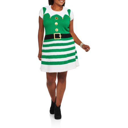 Plus Size Holiday Time Women's Plus Christmas Sweater Dress - Best Dressed Elf, Size: 1XL, Green