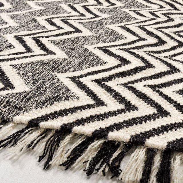Tapis tissé à plat motif kilim en laine, Tibal