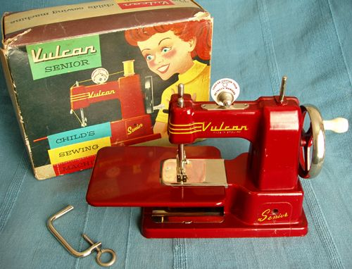Vulcan Senior Child's Sewing Machines = In 1957, Vulcan registered a patent for it's famous trio of TSMs. The Minor, the Junior and the free arm Senior were all sturdy cast aluminum toys. These models were popular in Australia and Vulcan had distributorships in all the major capital cities. Z
