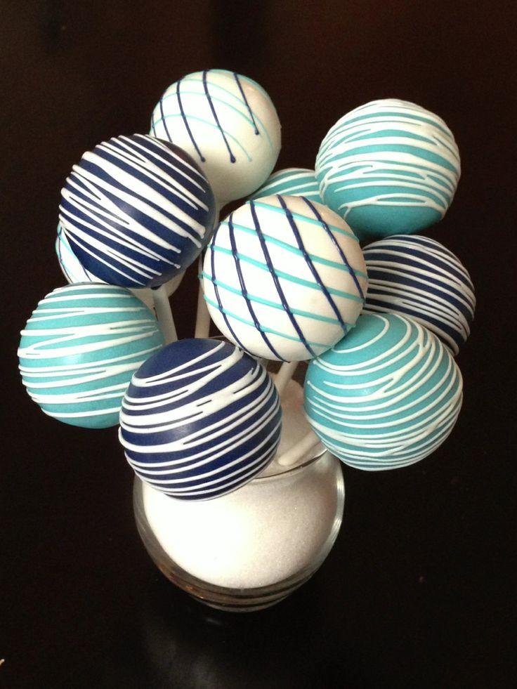 Blue and white cake pop - simple arrangement                              …