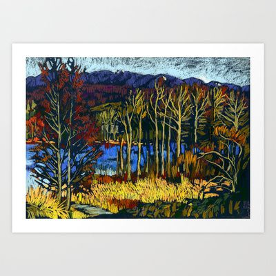Deer Lake park. Soft pastel painting.  Art Print by Kira Sokolovskaya - $14.48