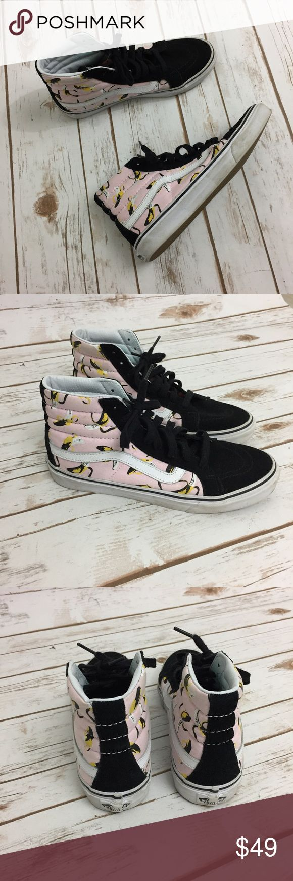 """Vans Sk8 Hi Slim Suede Canvas Banana Sneakers Vans. Size 8. """"Sk8 Hi Slim Banana"""". Ballerina/ True white classic. Canvas and Suede. Rubber sole. Lace up closure. Excellent Preowned Condition. Vans Shoes Sneakers"""