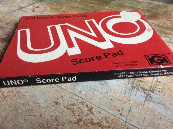 Vintage uno score pad red white paper keeping 100 by rustandmoth