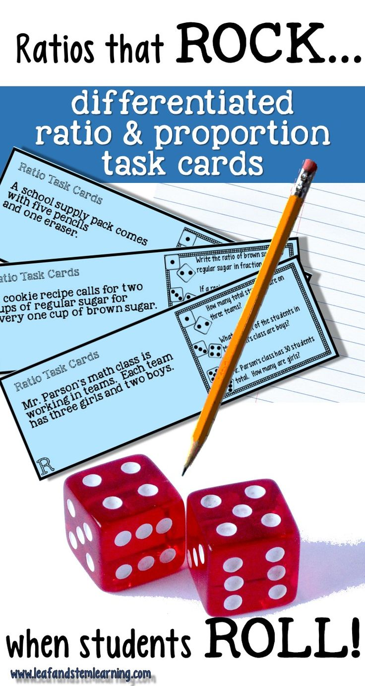 Ratio and proportions need a lot of practice!  This differentiated task card set uses the roll of the dice to select from three levels of questioning.  132 questions from 44 model and problem solving scenarios!