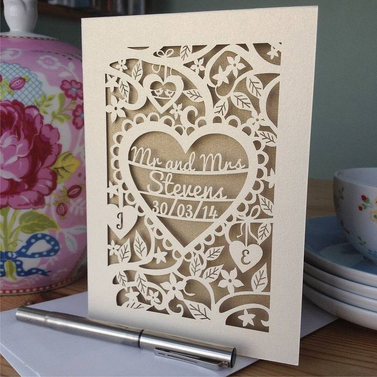 A beautifully intricate personalised laser cut card perfect if you are looking for something a little bit special! Customers are reminded to check all spelling and dates before submitting their order. Due to the nature of laser cutting, cut edges may appear slightly scorched, and although we do everything possible to minimise this, it is not completely avoidable.This lovely little card is can be personalised with the happy couple's name on the first two lines, with the date of the wedding on…