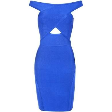 Luxe Off Shoulder Shortsleeve Over Knee Cut-Out Blue Bandage Dress ...