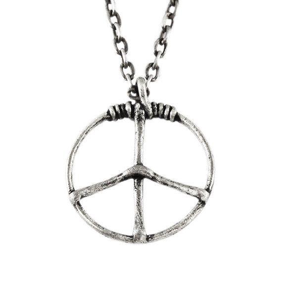 Silver Peace Necklace Antique Mens Pendant Carpe Diem Jewelry