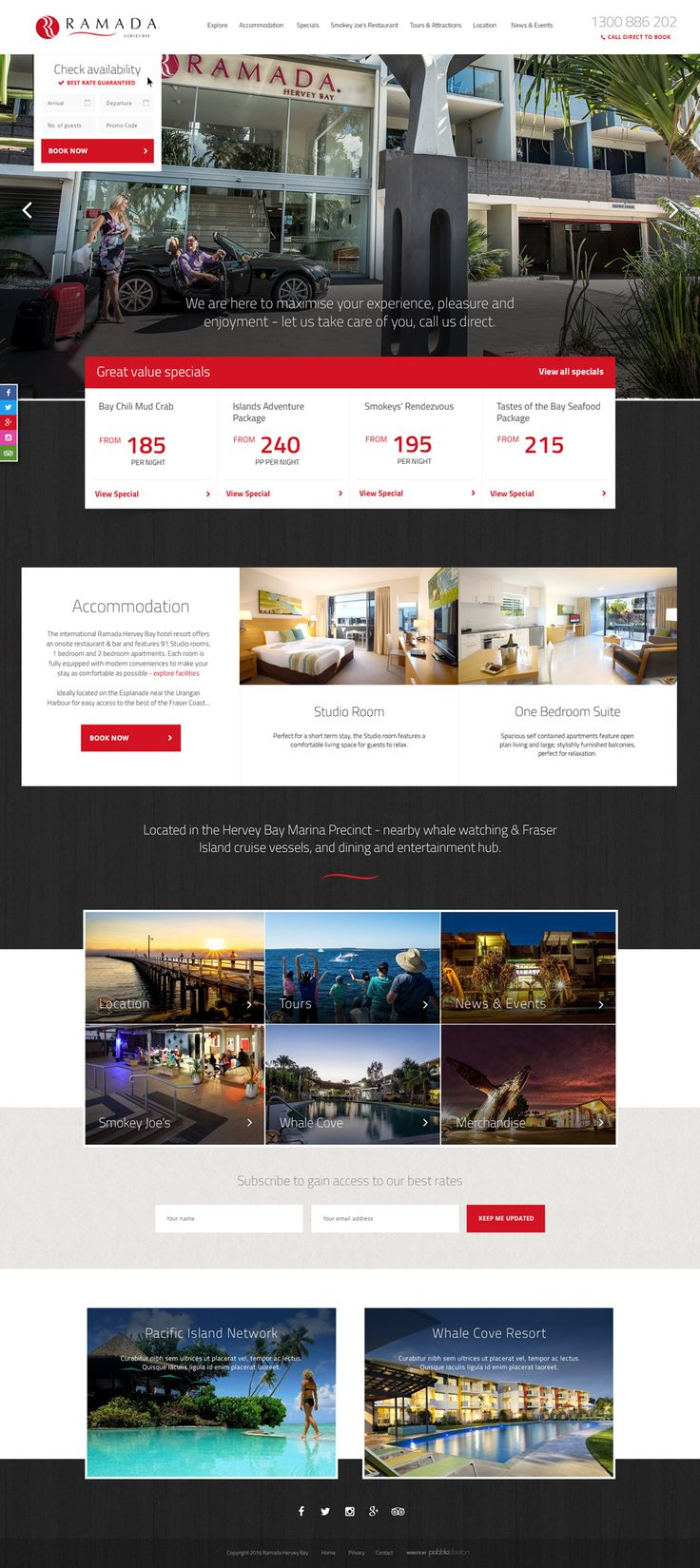 """Ramada Hervey Bay's new website has just recently gone live.  """"A no fuss, genuine, affordable, relaxing business and leisure accommodation experience""""   See more - http://pebbledesign.com/our-work Site - http://www.ramadaherveybay.com.au/  #pebbledesign #hotelwebdesign #hotelwebsitedesign #hotelwebsites"""