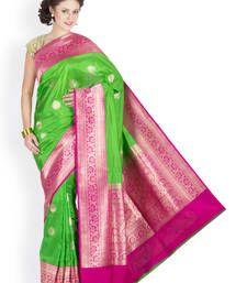 Buy Parrot Green  and   rani hand_woven silk saree with blouse banarasi-silk-saree online