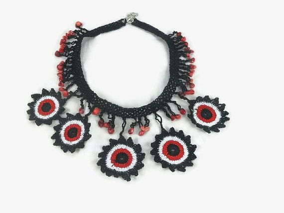 Flower Statement Necklace / Red Black White / Crochet by Nakkashe