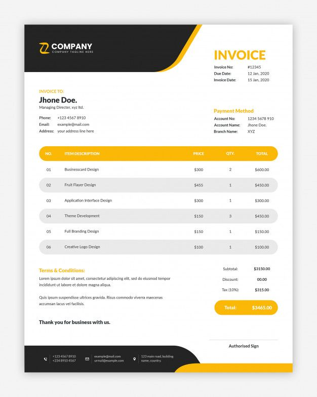 Modern Corporate Yellow Business Invoice Template Invoice Design Template Invoice Template Invoice Design