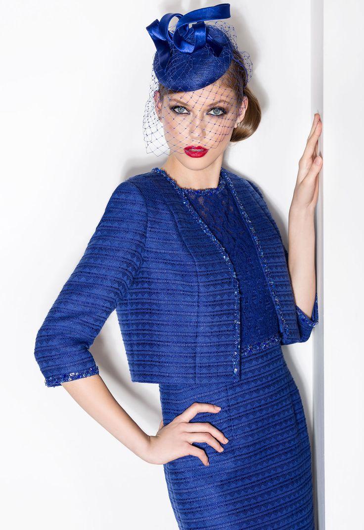 DONNA 06450  Vestido de fiesta corto en tweed con manga francesa y chaqueta