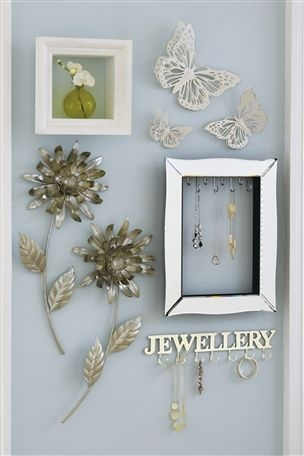 Store necklaces in an old picture frame or on a Jewellery Hook.  Love it!