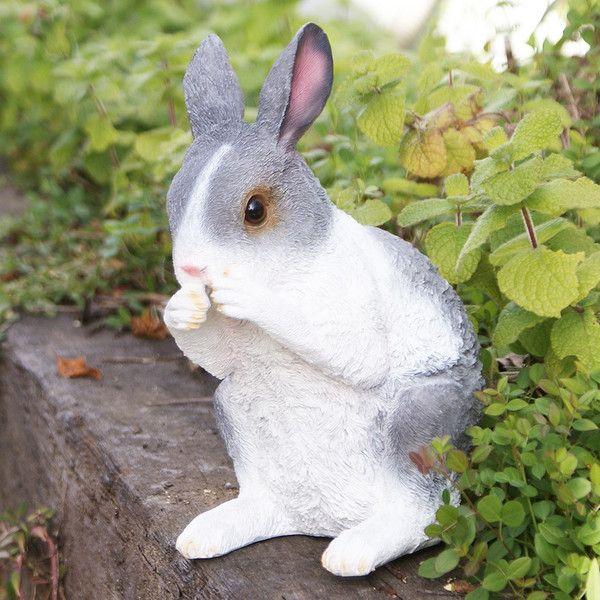 灰色うさぎB (ウサギのレナ) ガーデンオーナメント (置物 オーナメント 庭 かわいい 動物 オブジェ)|niwazakka