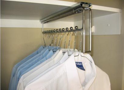 Great stainless steel slide hanger to organise clothes within the wardrobe.