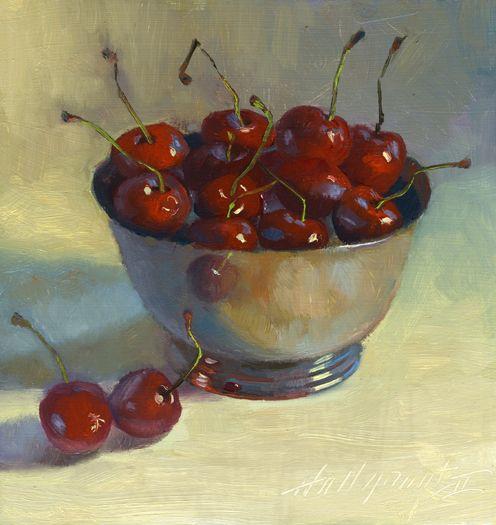 bleistift-und-radiergummi: Hall Groat 'Cherries in Silver Bowl'