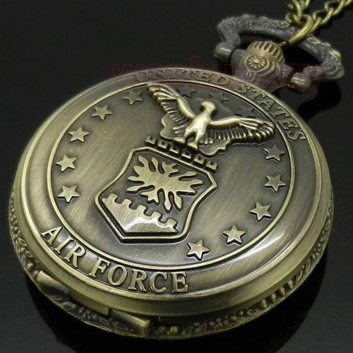 Бронзовый Ввс Орел Звезды Кварцевые Карманные Часы Ожерелья Мужские Подарков P103