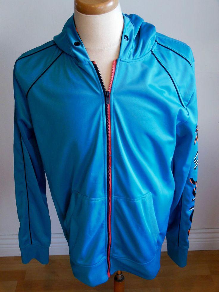 Jack and Jones Full Zip Hoodie Jacket Bright Blue Colorfull Track Coat size XL | eBay