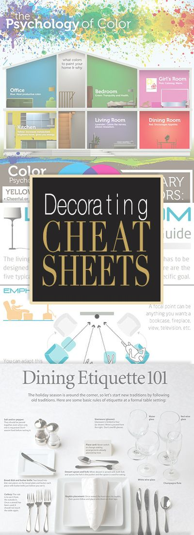 Decorating Cheat Sheets • All the info you will ever need for home decorating on simple easy to pin cheat sheet infographics!