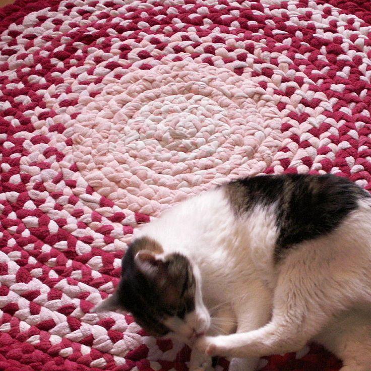 kobereček - hadrák - spletený -  kulatý - růžový