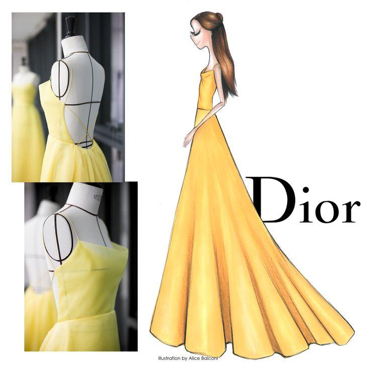Beauty+and+the+Beast+-+Dior+Emma Watson+yellow+la+bella+e+la+bestia+illustration+paper+fashion