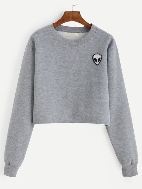 Sweat-shirt col rond avec patch motif alien - gris -French SheIn(Sheinside)
