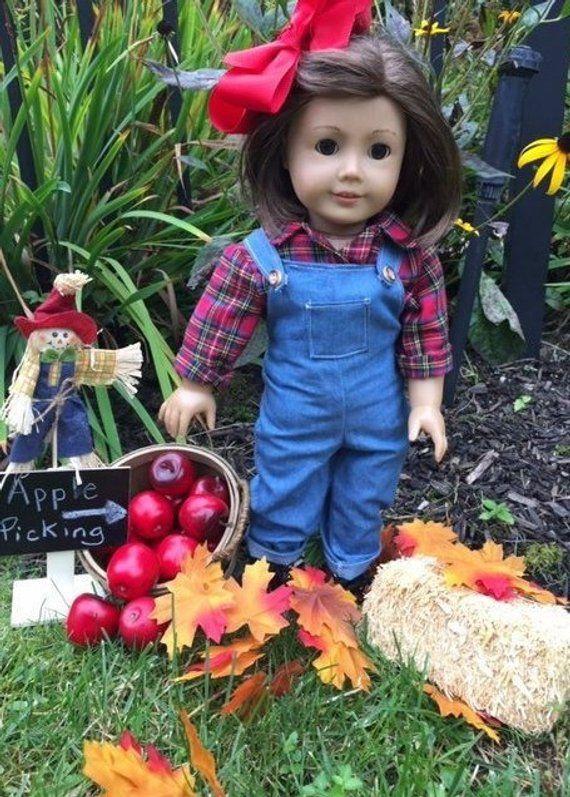 Red Shirt Overalls Doll Outfit
