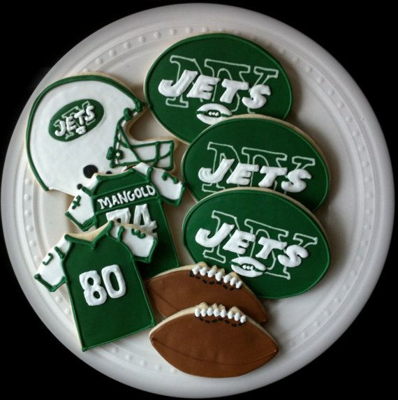 New York Jets Football Decorated Cookies by peapodscookies
