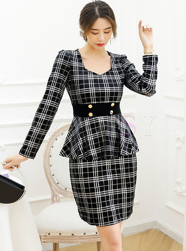 Long Sleeve Plaid Ruffle Patchwork Office Dress in 2021