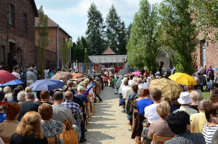 The mass at the block 11 of the former Auschwitz I camp. The 72nd anniversary of death of Franciscan Father Maximilian Kolbe, who was murdered by Germans in Auschwitz on 14 August 1941.