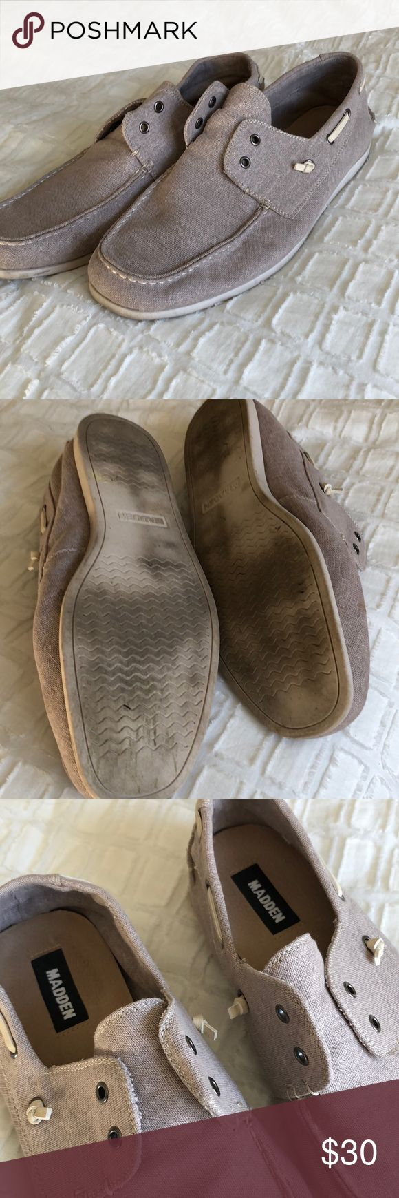 Men's boat shoes Khaki leggings colored canvas boat shoes. Worn a few times. No stain scratches or marks Steve Madden Shoes Boat Shoes