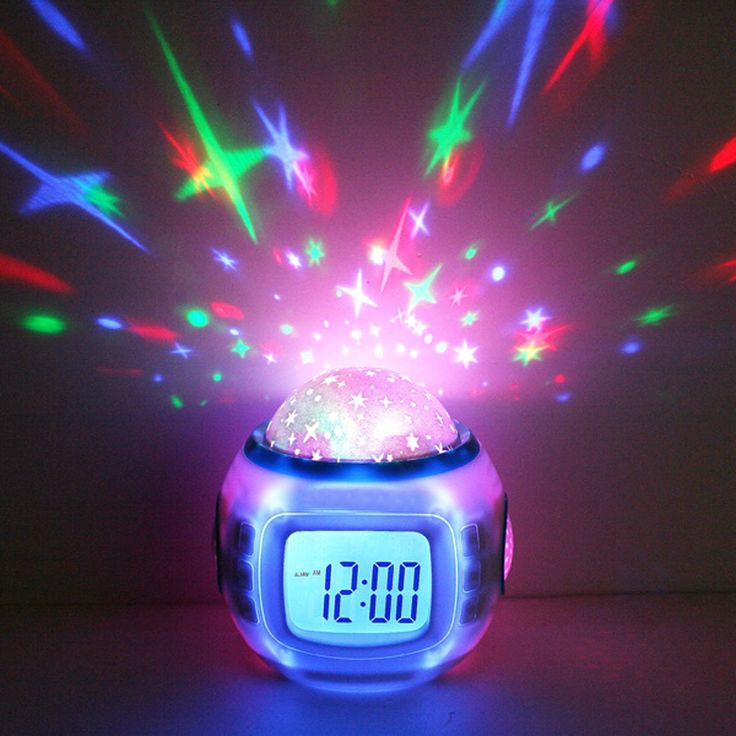 Music Led Star Master Nightlight Projector Lamp Child Lazy Alarm Clock Calendar