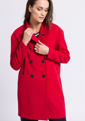 Palton dama iarna rosu oversized Only