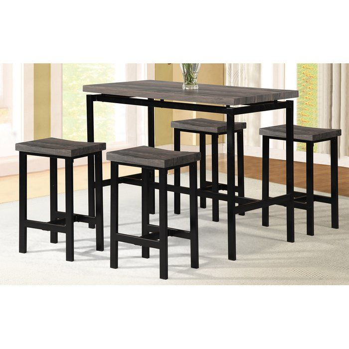 Denzel 5 Piece Counter Height Breakfast Nook Dining Set With