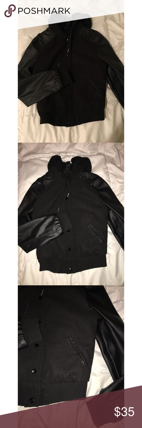 Hooded bomber jacket Black faux leather sleeve bomber jacket from Rue21. Some slight pilling as shown in photos, but other than that it's in good condition! Rue21 Jackets & Coats