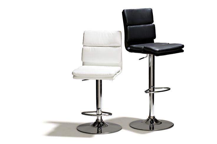 Bowery - Barstol, höj- och sänkbar, med stoppad sits i konstläder och underrede i kromat stål. Finns i vit och svart.