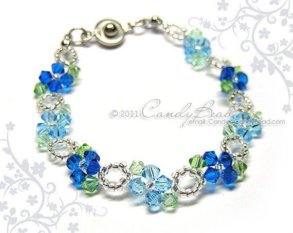 Aqua Blue Swarovski Crystal Bracelet  Sweet blue by by candybead