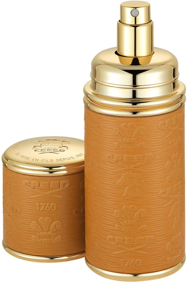 Creed Logo Etched Leather Atomizer, Gold/Camel on shopstyle.com