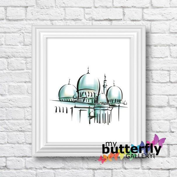 "Mosque - Instant Digital Download - Printable Islamic Art 10x8"" by MyButterflyGallery on Etsy"