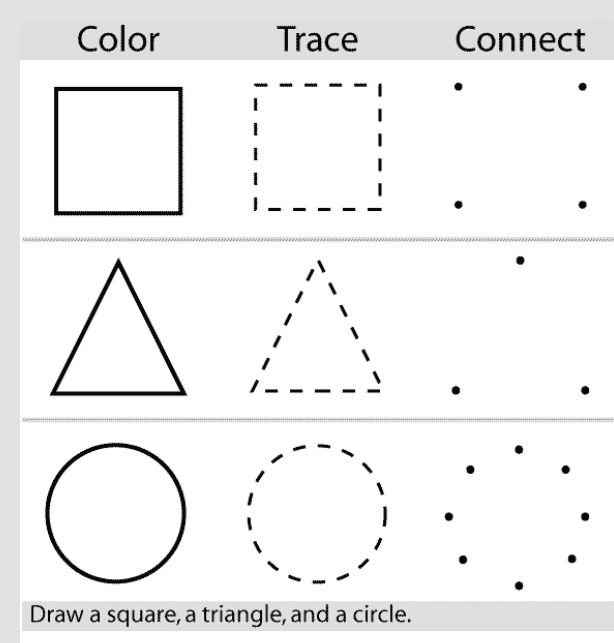 Preschool Shapes Test : Drawing Shapes Practice Sheet Printable
